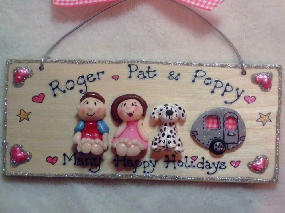 3 character (including pet(s) + Caravan  3d Family Sign Personalised & Customised Every One Unique Handmade To Order